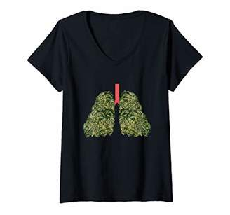 Womens Funny Weed Lungs Pot THC and CBD Smoke Lover Gift V-Neck T-Shirt
