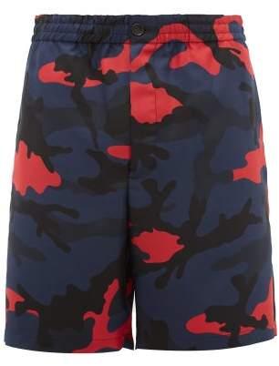 Valentino Camouflage Print Silk Faille Shorts - Mens - Multi