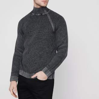 River Island Only and Sons black washed rib high neck sweater