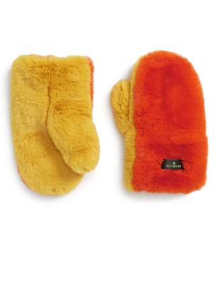 Heurueh Supersoft Colorblock Faux Fur Mittens