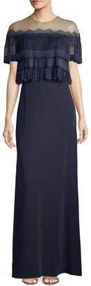 Tadashi Shoji Pleated Popover Off-The-Shoulder Illusion Gown