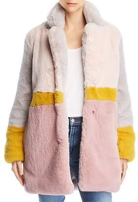 Apparis Lisa Color-Blocked Faux-Fur Coat