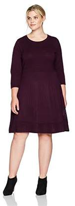 Jessica Howard Women's Plus Size Scoop Neck Fit and Flare Dress