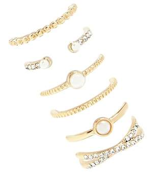 Forever 21 Pearl & Rhinestone Ring Set