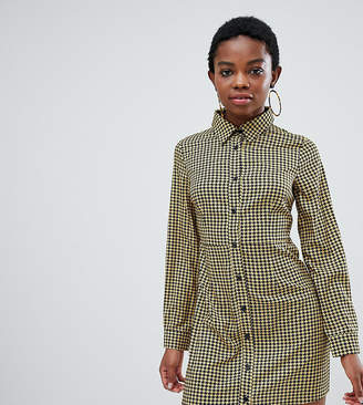 Glamorous Petite skater shirt dress in houndstooth