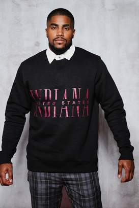 boohoo Big & Tall Indiana Print Rugby Sweater