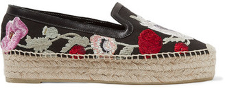 Alexander McQueen - Leather-trimmed Embroidered Canvas Espadrilles - Black $670 thestylecure.com