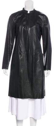 DKNY Long Leather Coat