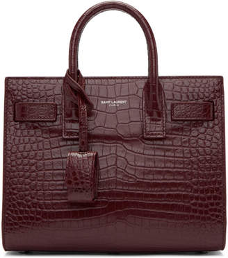 Saint Laurent Red Croc Nano Sac de Jour Tote
