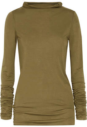 Rick Owens - Stretch-jersey Top - Army green $385 thestylecure.com
