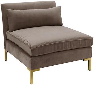One Kings Lane Marceau Slipper Chair - Smoke Velvet