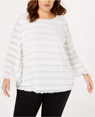 Alfani Plus Size Fringe-Stripe Top