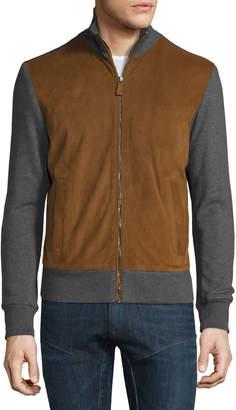Ralph Lauren Suede-Panel Front-Zip Sweater, Cognac/Gray