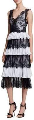 Marchesa Lace Ruffle Dress