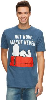 """Licensed Character Men's Peanuts Snoopy """"Not Now, Maybe Never"""" Tee"""