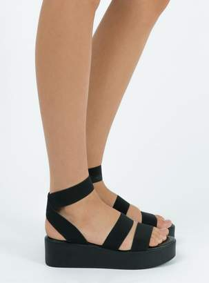 Therapy Black Elastic Rafter Sandals