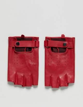 Asos Design Leather Fingerless Gloves In Red