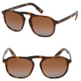 Ermenegildo Zegna Men's 55MM Square Sunglasses - Havana