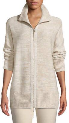 Lafayette 148 New York Relaxed Sequin Italian Wool/Silk-Blend Zip-Up Cardigan