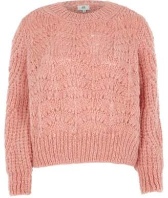 River Island Petite pink chunky knit sweater