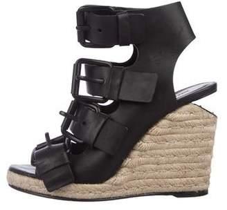 Alexander Wang Leather Peep-Toe Wedge Sandals