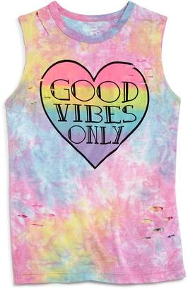 Flowers by Zoe Girls' Distressed Tie-Dye Good Vibes Only Tank