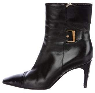 Chanel Leather Square-Toe Ankle Boots