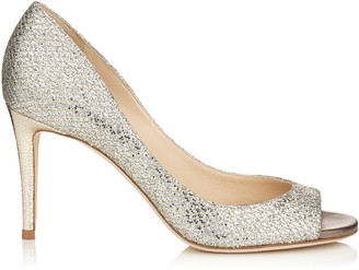 Jimmy Choo EVELYN 85 Champagne Glitter Fabric Peep Toe Pumps