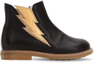 Ocra Lightning Bolt Leather & Shearling Boots