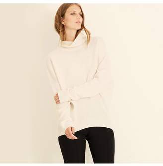 Amanda Wakeley Kloss Ecru Cashmere Polo Neck Jumper