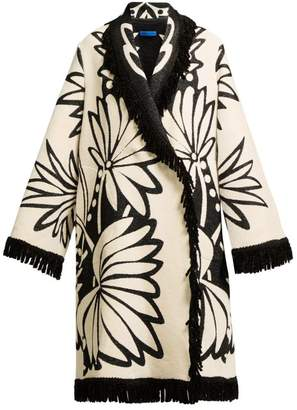 Märit ilison Ilison - Palm Intarsia Tasselled Cotton Coat - Womens - White Multi
