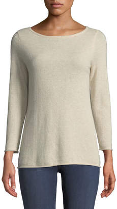 Neiman Marcus Basic Cashmere Boat-Neck Pullover Sweater, Beige