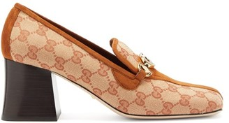 Gucci Zumi Gg Canvas And Suede Pumps - Womens - Beige