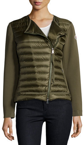 Moncler Moncler Reo Asymmetric-Zip Quilted Down Cardigan