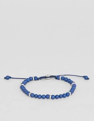 Fossil mens adjustable blue bead bracelet