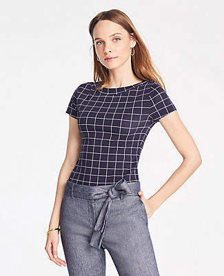 44e6c9d597 Ann Taylor Windowpane Boatneck Luxe Tee