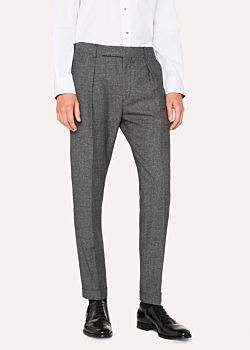 Men's Tapered-Fit Wool And Silk-Blend Grey Tweed Trousers