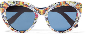 Dolce & Gabbana - Cat-eye Printed Acetate Sunglasses - Blue $270 thestylecure.com