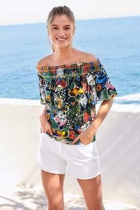 Next Womens Black Tropical Print Off Shoulder Top