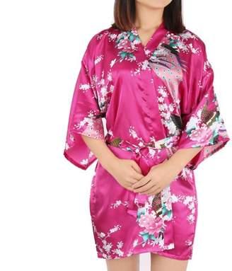 Unique Bargains Satin Robe Dressing Gown Rayon Wedding Bride Bridesmaid (Fuchsia Floral, XL)