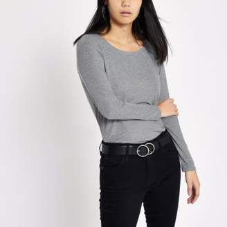 River Island Grey scoop neck long sleeve T-shirt