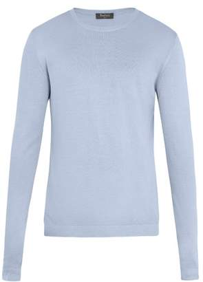 Berluti - Crew Neck Silk Sweater - Mens - Light Blue