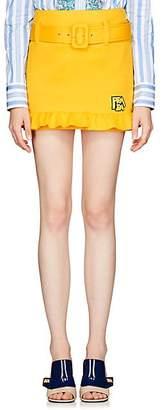 Prada Women's Logo Neoprene Miniskirt - Yellow