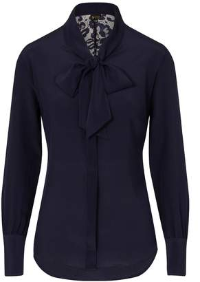 Sophie Cameron Davies - Midnight Blue Silk Bow Blouse