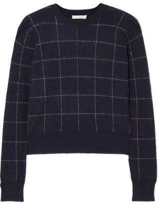 Vince Checked Cashmere Sweater - Navy
