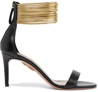 Aquazzura - Spin-me-around Leather Sandals - Black $755 thestylecure.com