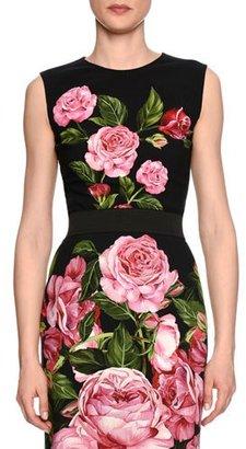 Dolce & Gabbana Rose-Print Crewneck Shell, Black/Rose Pink $875 thestylecure.com