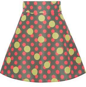 RED Valentino Flared Polka-dot Shell Mini Skirt