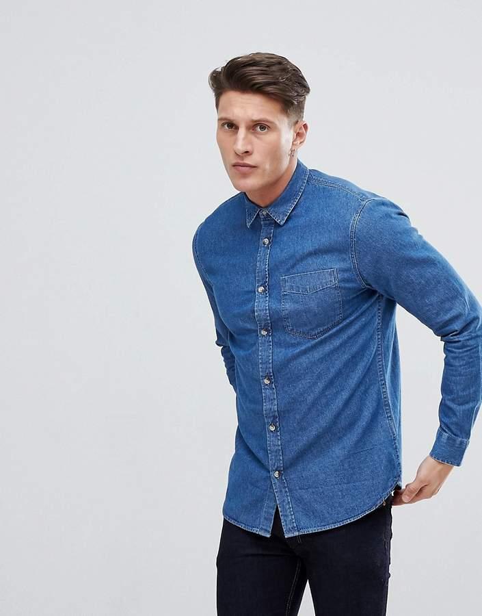 – Jeanshemd in verwaschenem Mittelblau