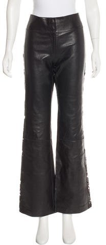 Fendi Mid-Rise Leather Pants